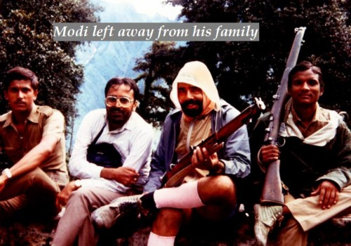 Modi lrft away from his family.