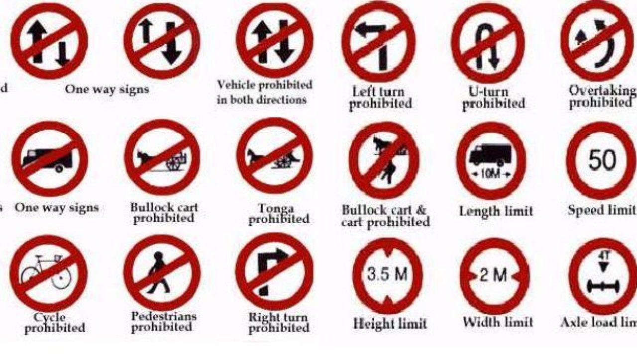 भारत के यातायात के नियम व चिन्ह का