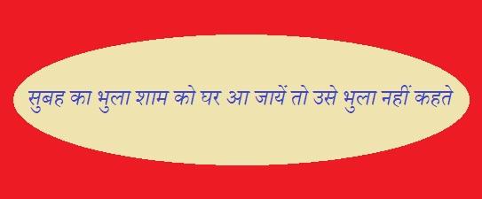 Subah Ka Bhula Sham Ko Ghar Aa Jaye To Use Bhula Nahin Kehate