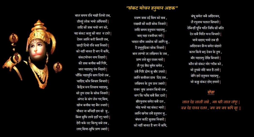 sankatmochan hanuma ashtak lyrics meaning in hindi....